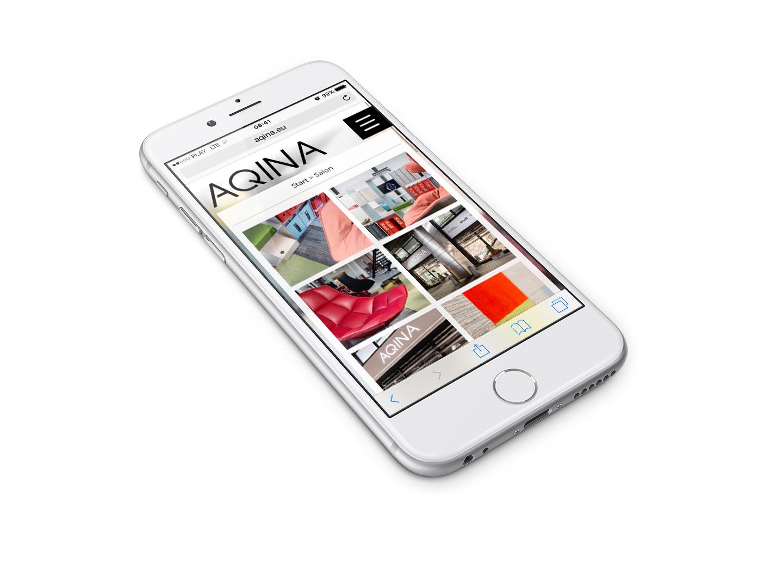 Aqina - projekt strony internetowej w wersji mobilnej na smartphonie