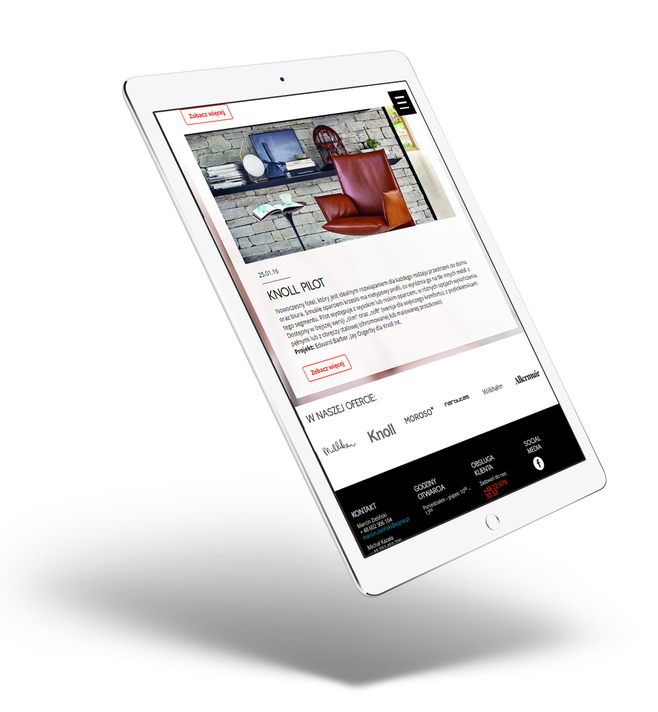 Aqina - strona internetowa dopasowana do tabletów