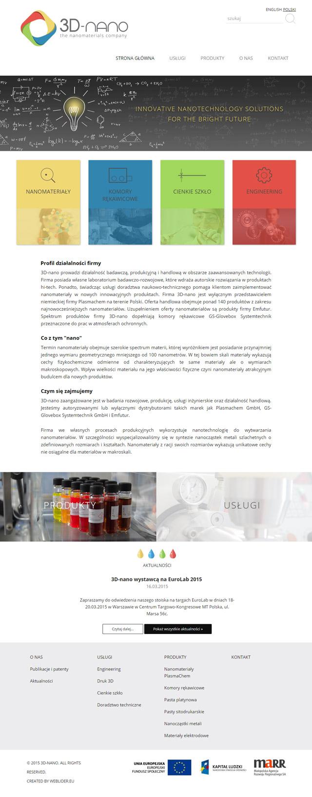 Mockup z projektem strony internetowej - webdesign