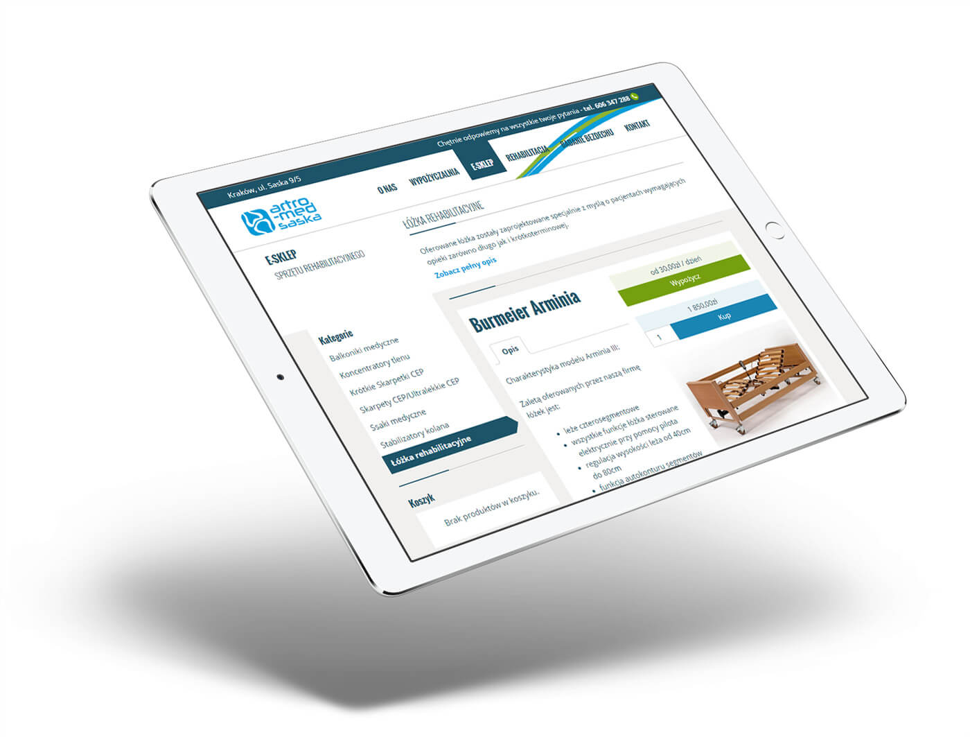 Strona www na tablecie