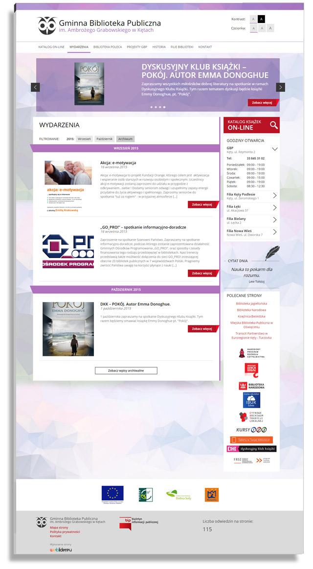 Projekt strony internetowej dla Gminna Biblioteka Publiczna w Kętach