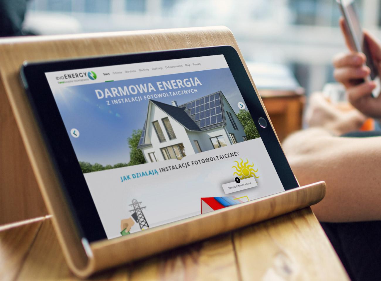 evoEnergy - strona internetowa promująca instalacje solarne