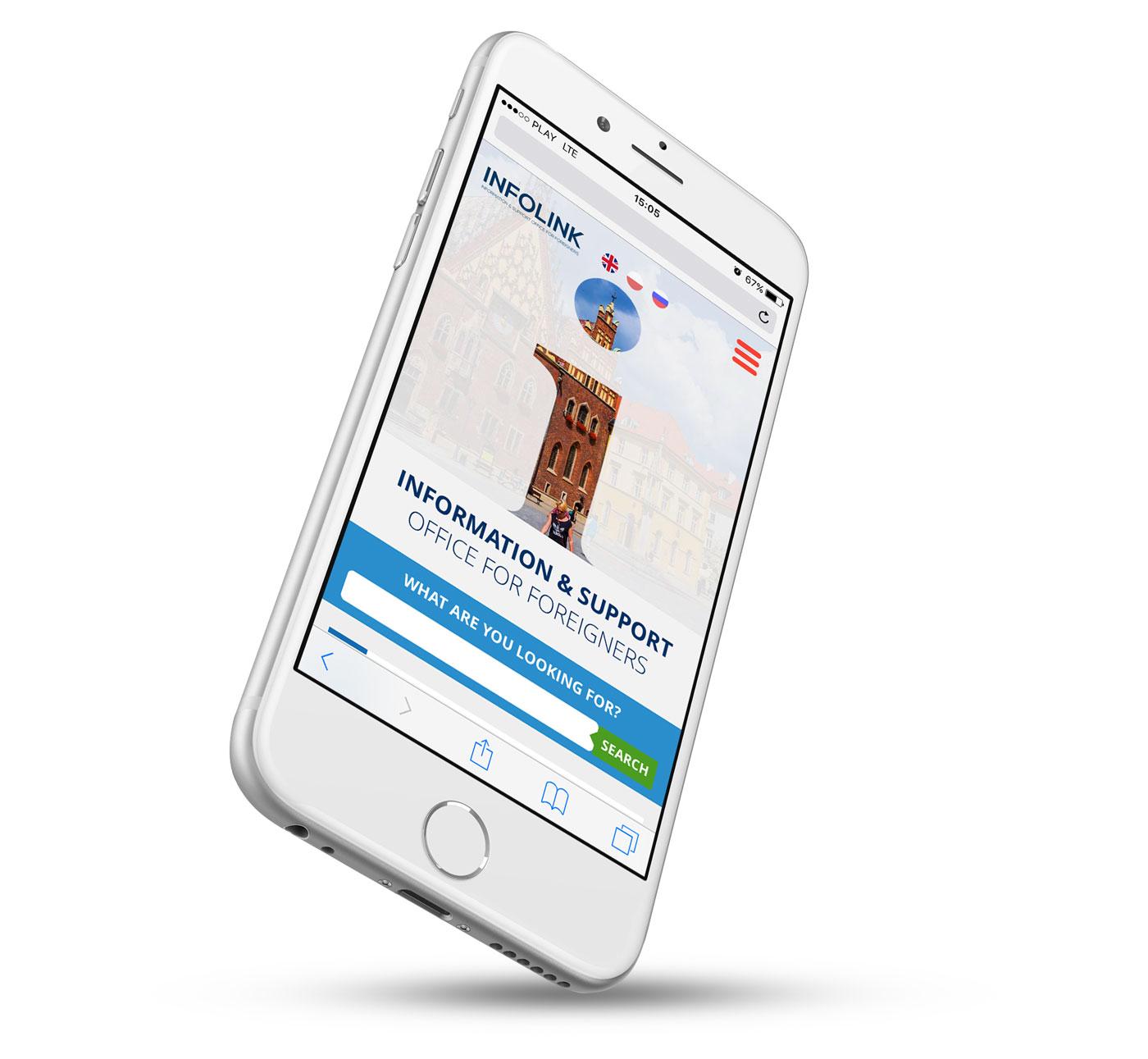 Serwis internetowy Infolink dla miasta Wrocław - wersja mobilna strony