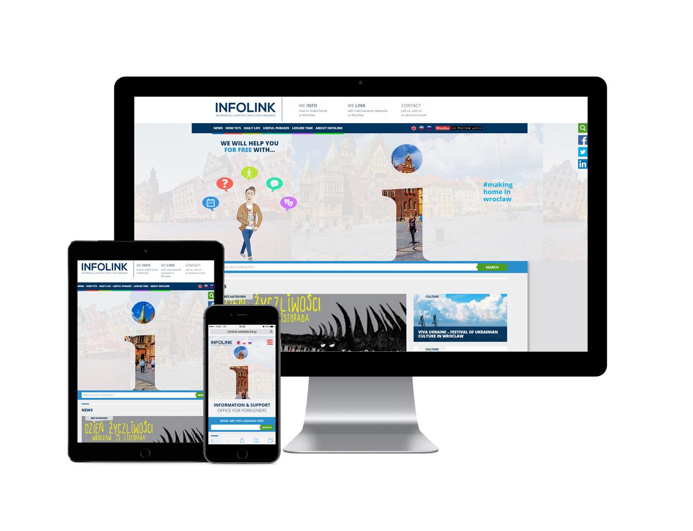 Responsywny serwis informacyjny www na wielu urządzeniach - mockup