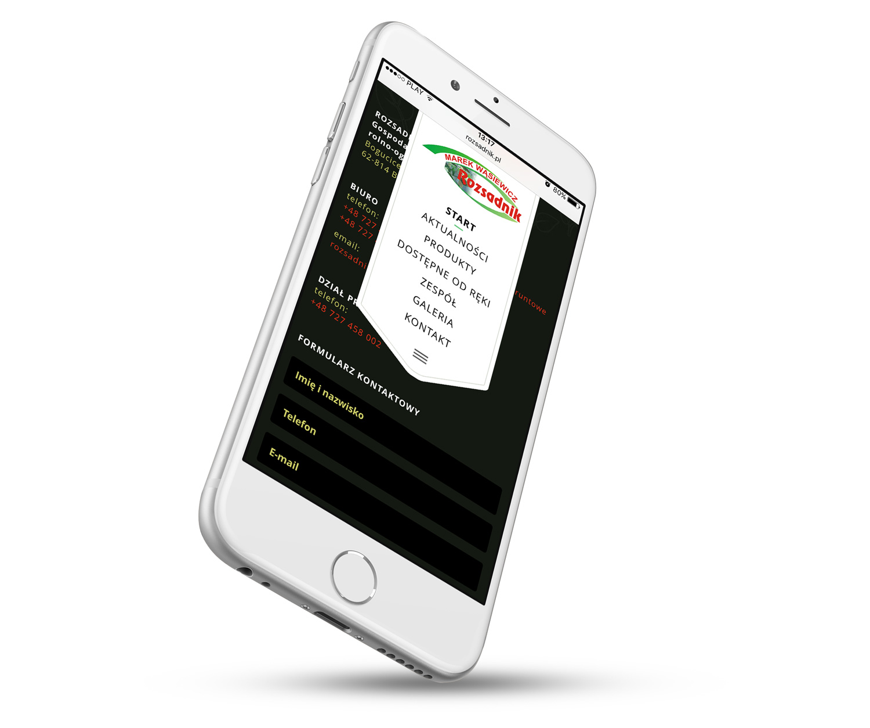 Strona internetowa - menu w wersji mobilnej