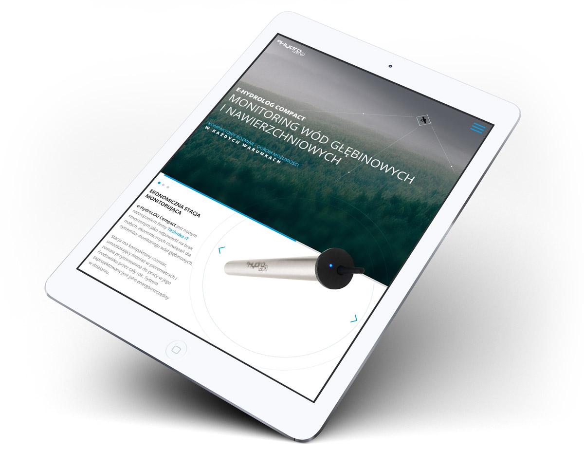Projekt strony internetowej produktowej na tablecie