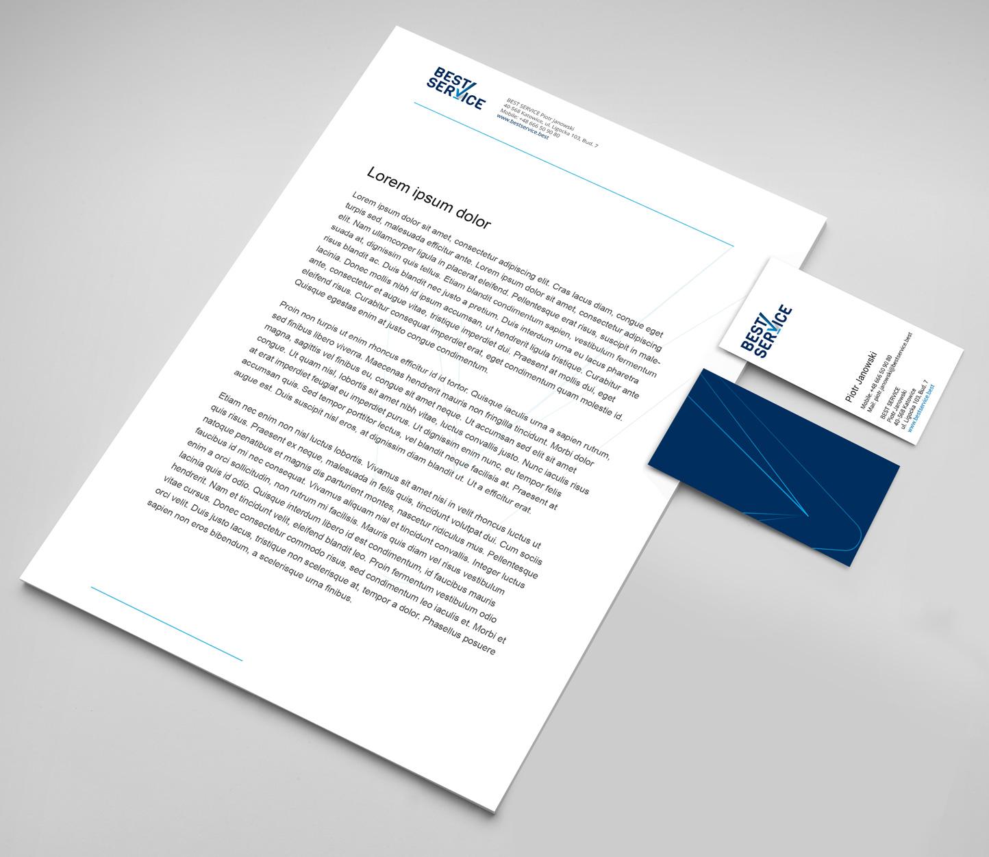 Best Service - projekt papieru firmowego i wizytówek, corporate identity