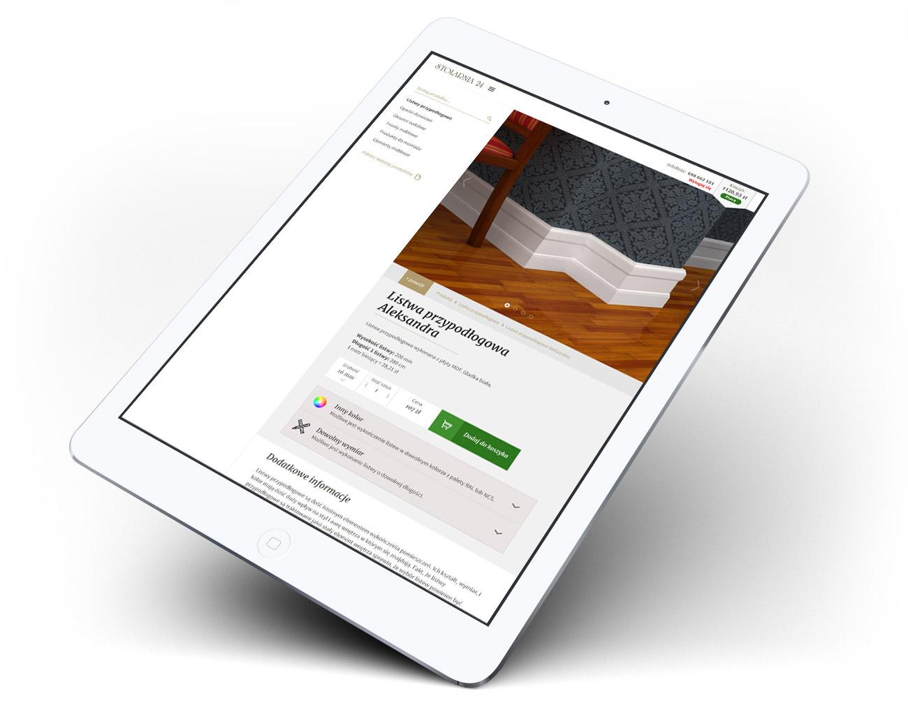 Stolarnia - widok produktu w stronie internetowej, sklepie internetowym