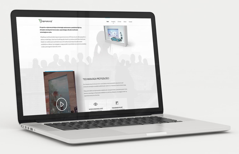 Strona główna strony internetowej dla Spiriyo - producenta transparentnych wyświetlaczy LCD