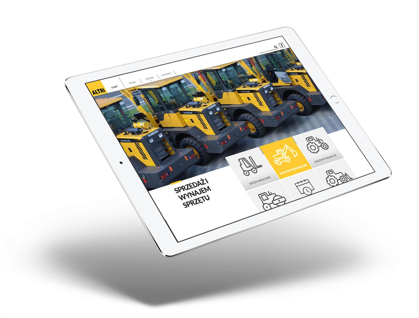 Minimalistyczna strona internetowa na tablecie