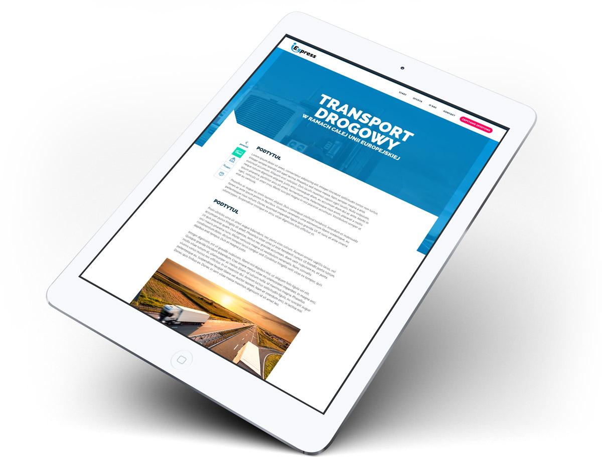 Wizualizacja projektu strony internetowej firmy transportowej iExpress