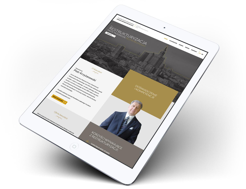 Doradca Restrukturyzacyjny - mobilna strona internetowa na tablecie - responsywna
