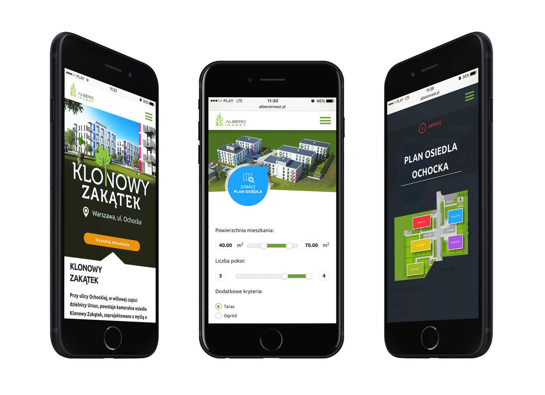 Albero Invest - wizualizacja strony www na telefonie - wersja RWD