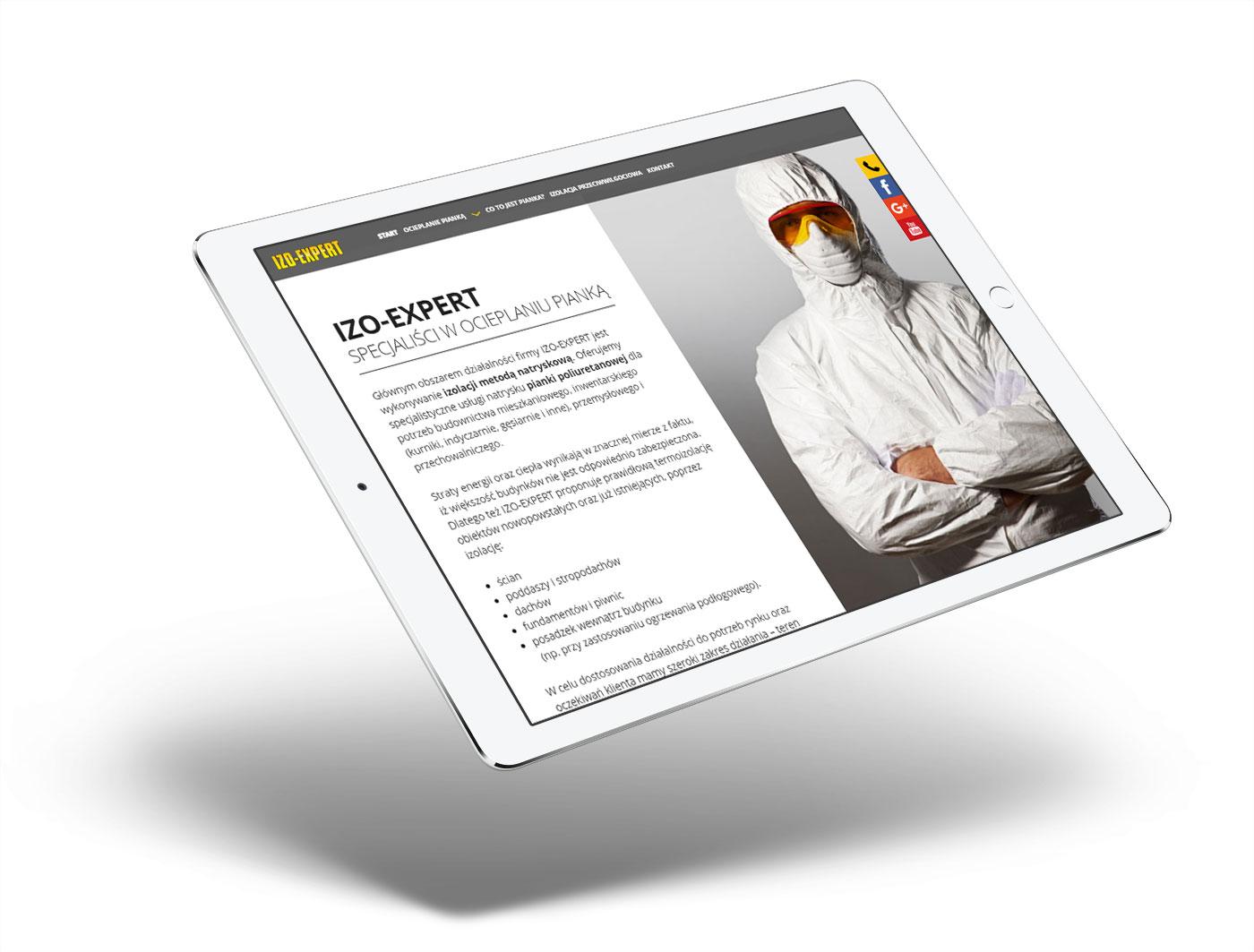 IZOEXPERT - wizualizacja strony internetowej na urządzeniu mobilnym
