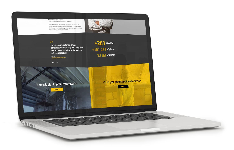 IZOEXPERT - projekt strony www - wizualizacja strony głównej. Film w tle, animacje css