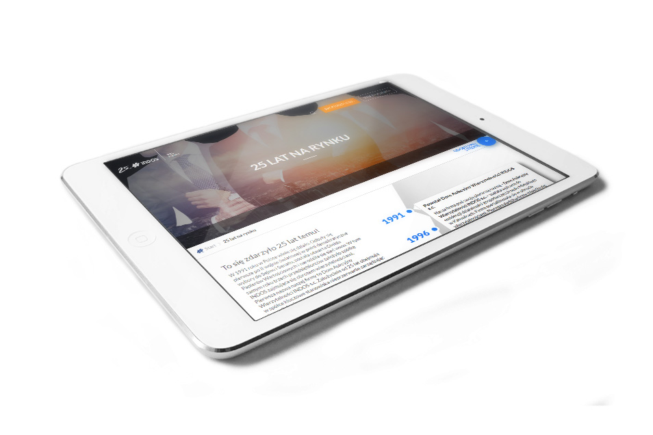 Indos S.A. - strona internetowa na tablecie