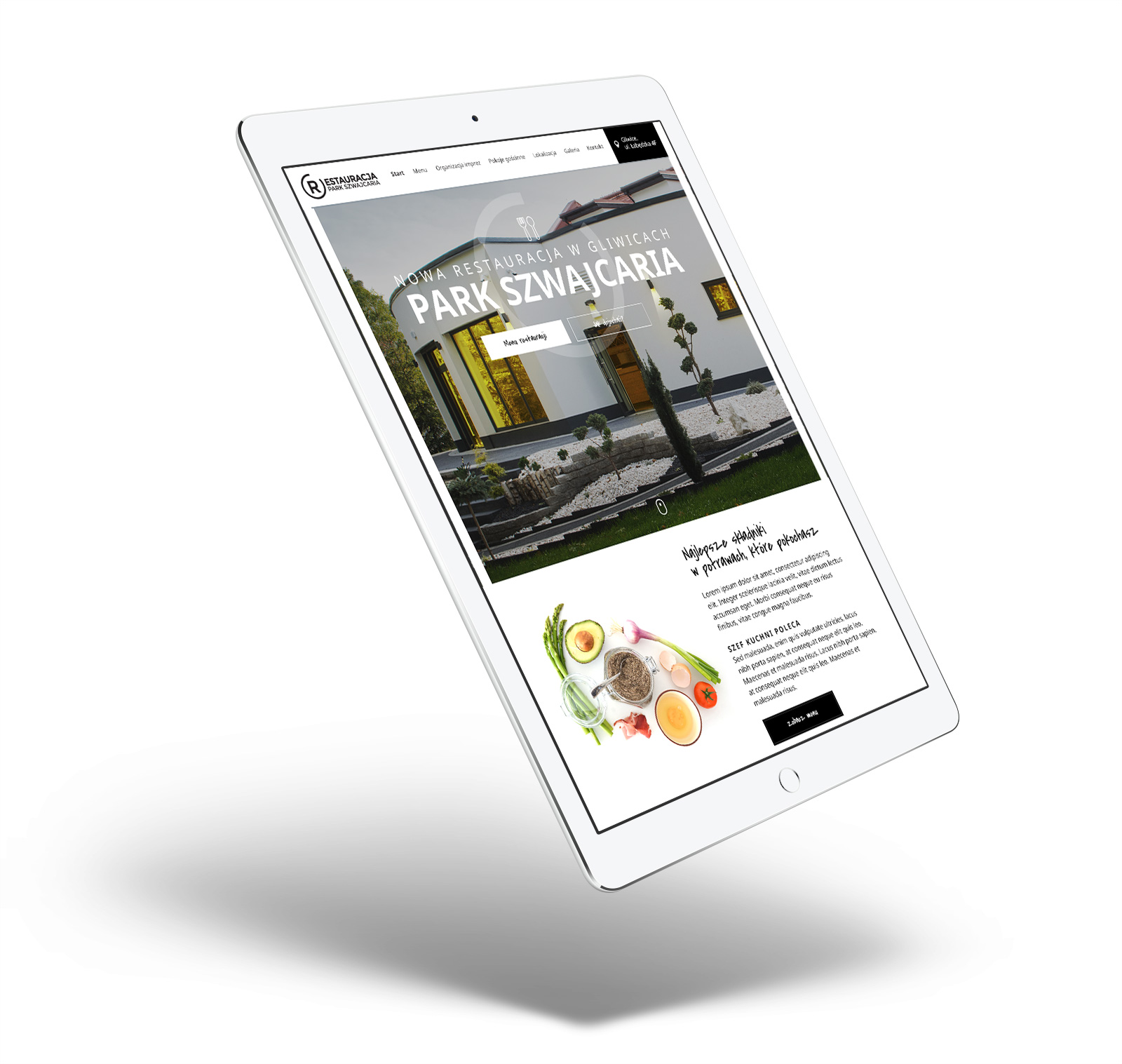 Restauracja Park Szwajcaria - Gliwice - strona internetowa w responsywnej wersji na tablecie