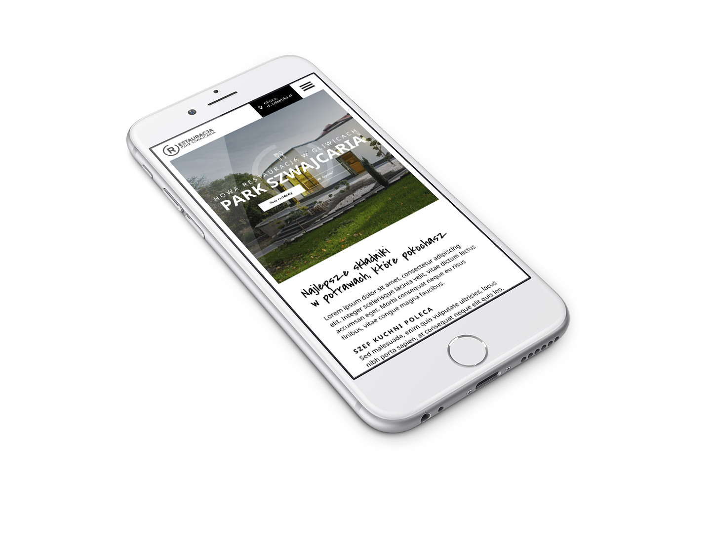 Restauracja Park Szwajcaria - Gliwice - projekt na telefonie komórkowym, wersja mobilna