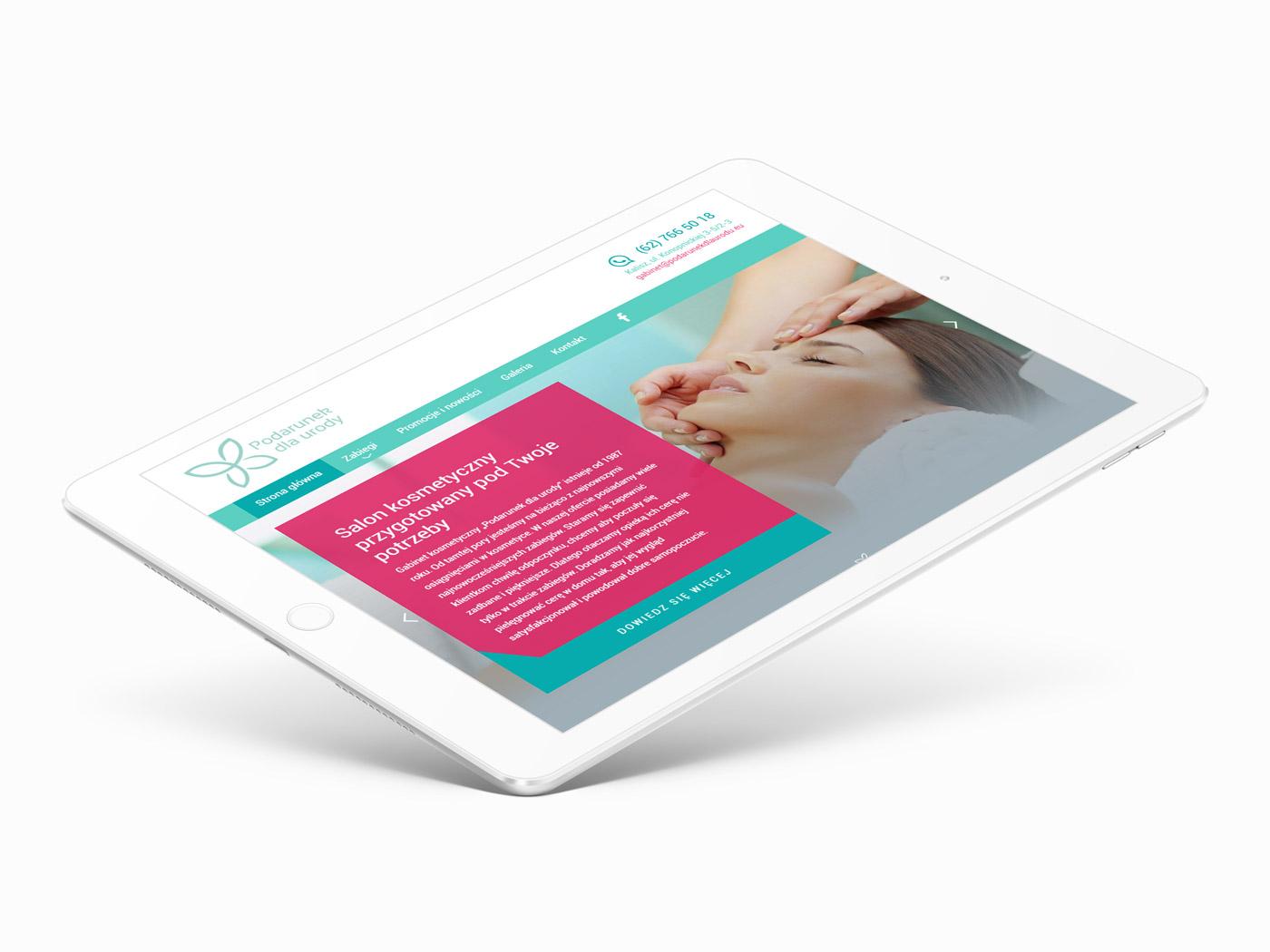 Podarunek dla urody - projekt strony internetowej wizualizacja na tablecie