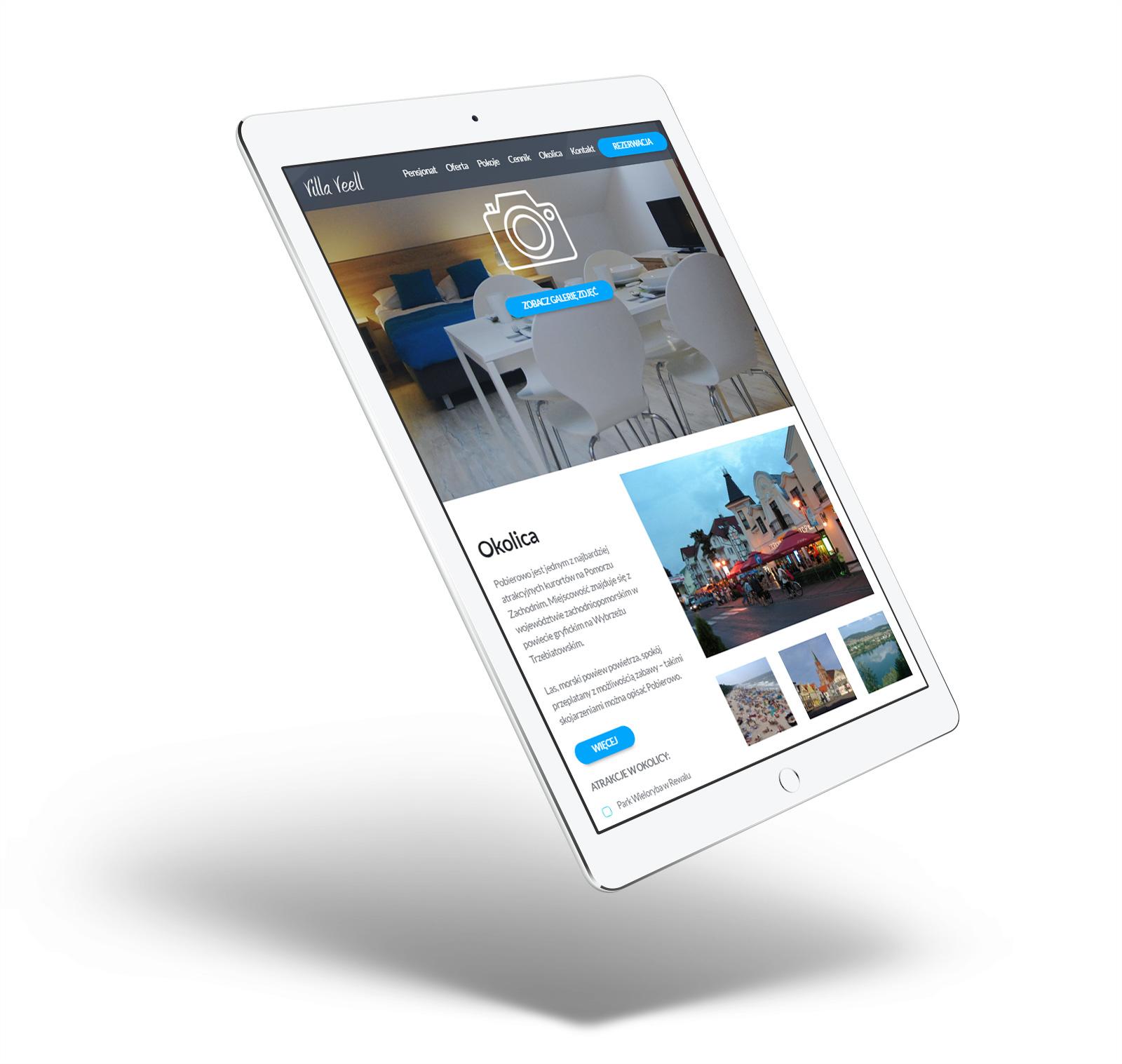 villa veell - strona internetowa na tablecie