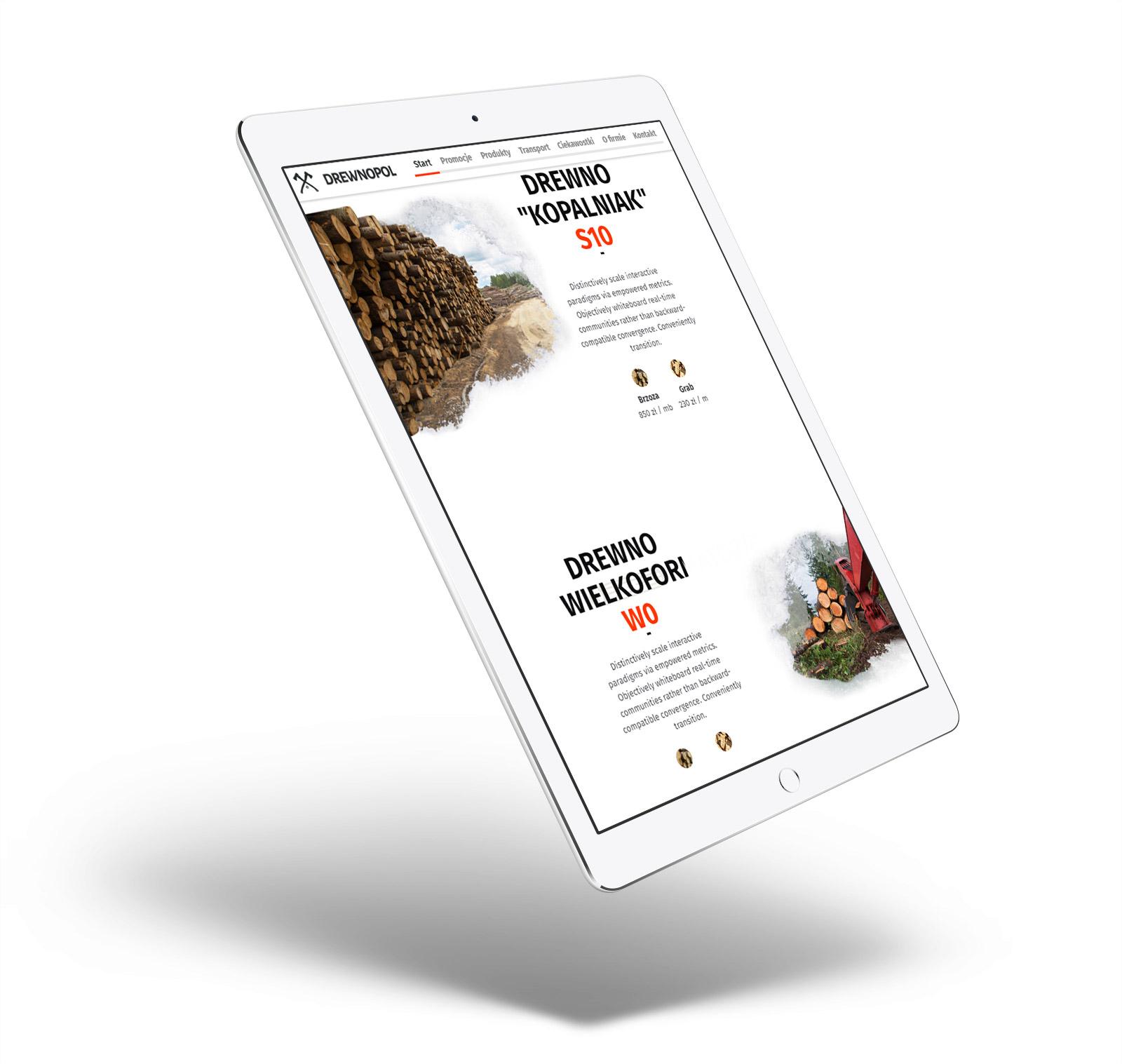 Drewnopol - animowana strona internetowa onepage, las, lesnictwo, drewno, tartak