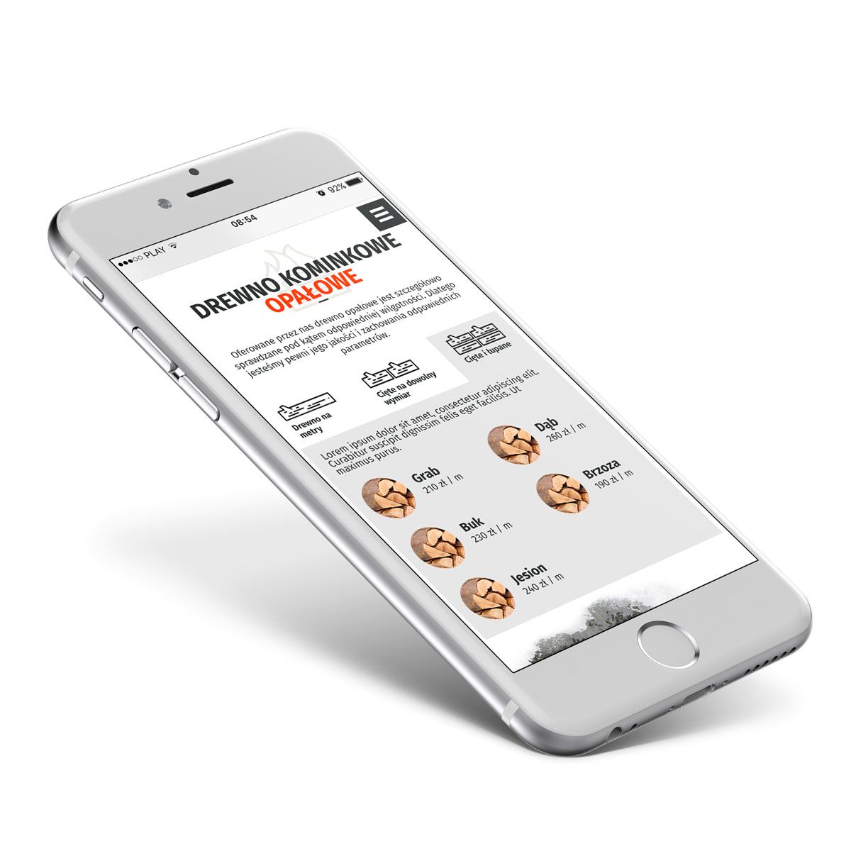 Drewnopol - strona internetowa responsywna RWD w wersji mobilnej iphone