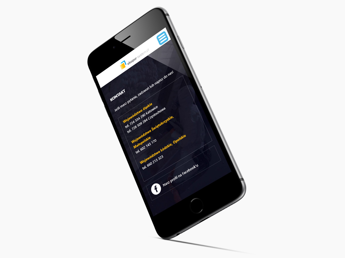 Ekopur - odświeżona strona internetowa na urządzeniu mobilnym