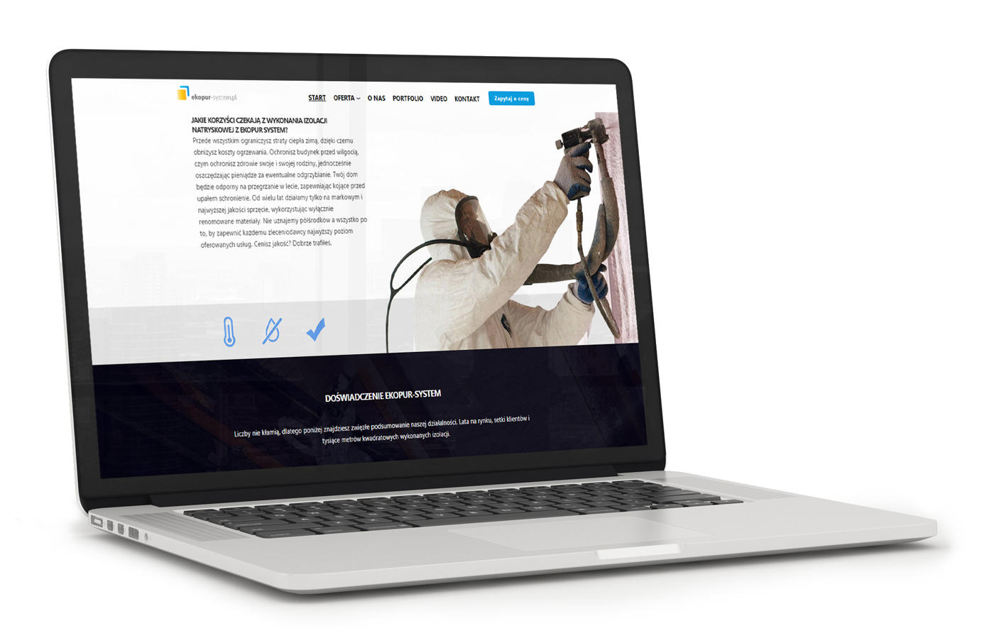 Ekopur - lifting strony internetowej, projekt na laptopie