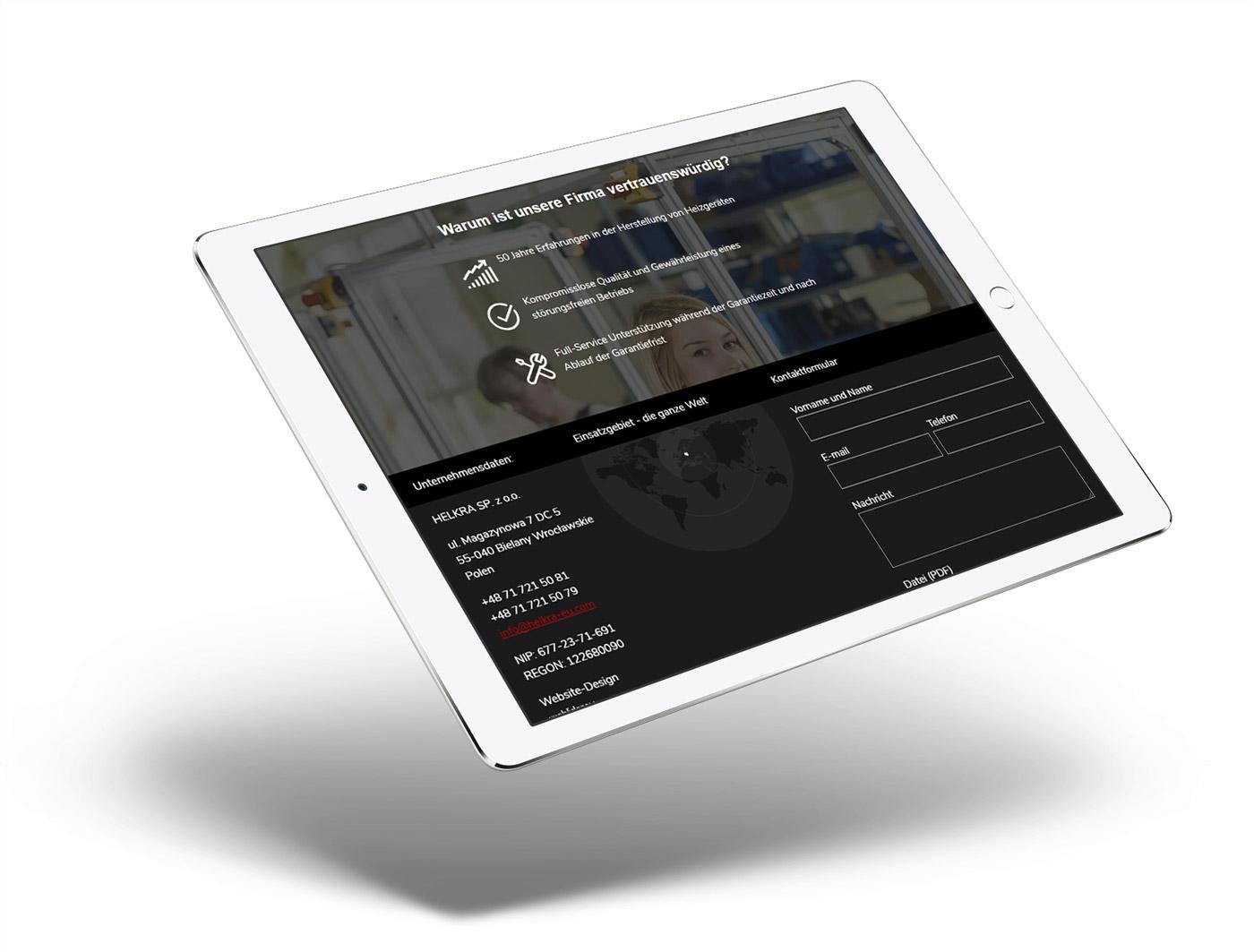 Helkra - wizualizacja nowoczesnej strony internetowej na tablecie