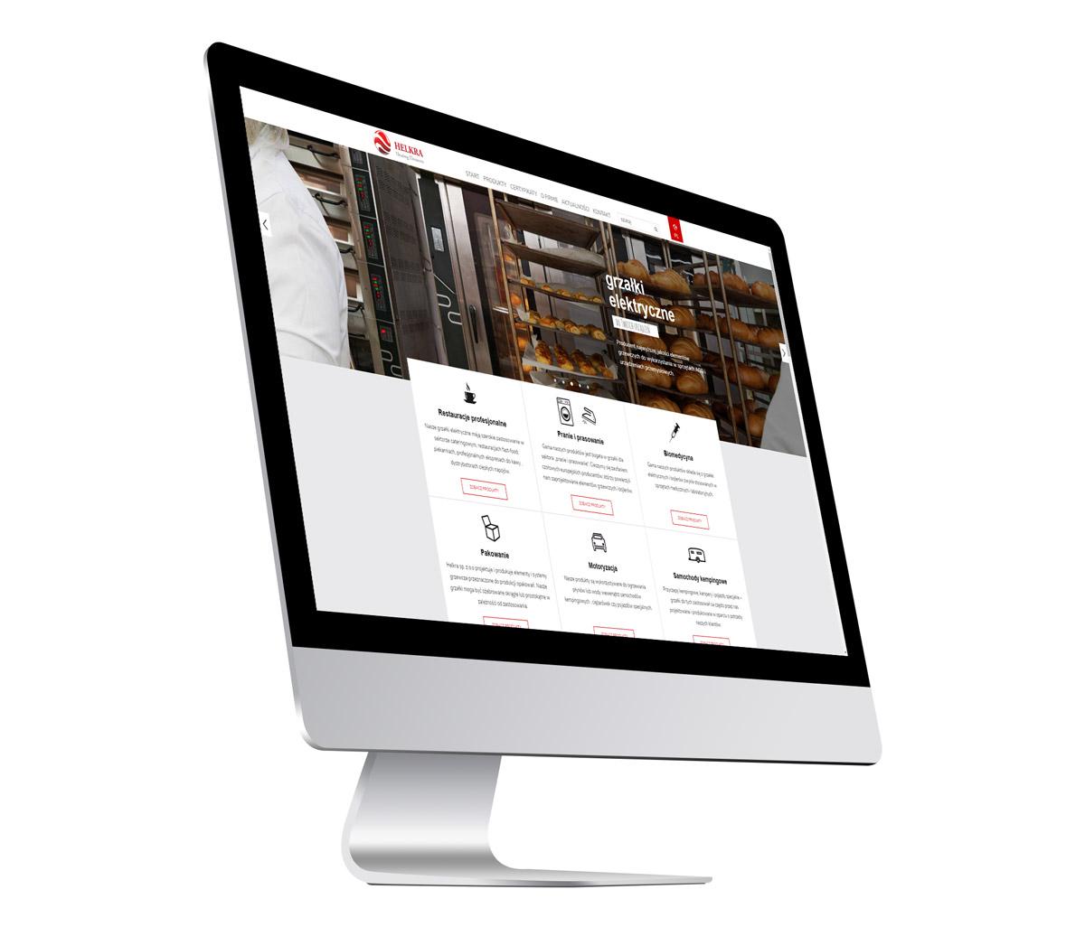 Helkra - strona internetowa producenta grzałek elektrycznych - wizualizacja strony głównej