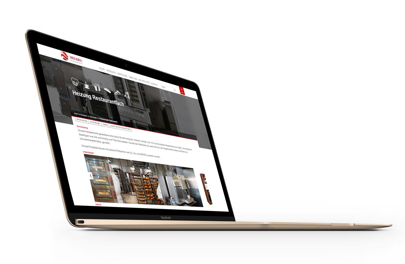 Helkra - projekt podstrony na stronie internetowej z branży przemysłowej