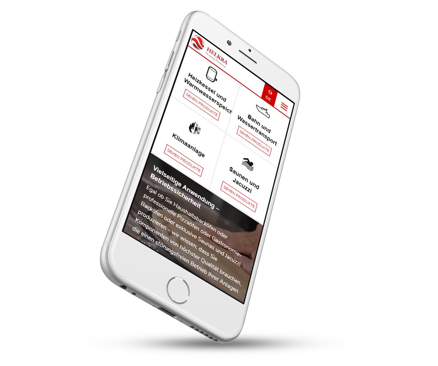 Helkra - strona www w wersji mobilnej na telefonie