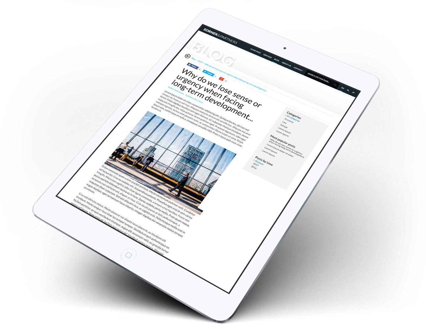 Sornek & Partners - widok strony www na tablecie, zgodność z RWD i HTML 5, WordPress