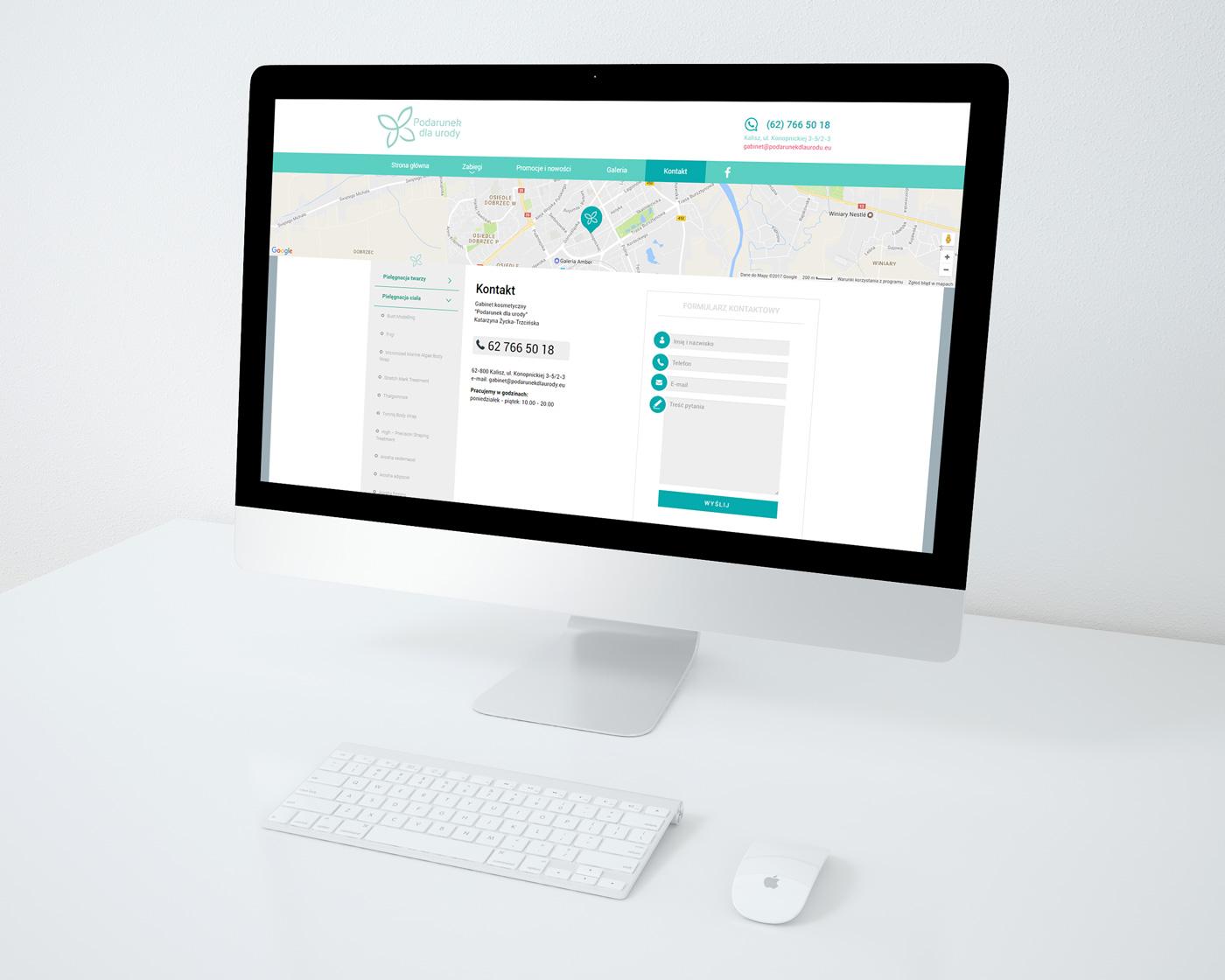 Podarunek dla urody - wizualizacja projektu podstrony kontakt na stronie www salonu kosmetycznego