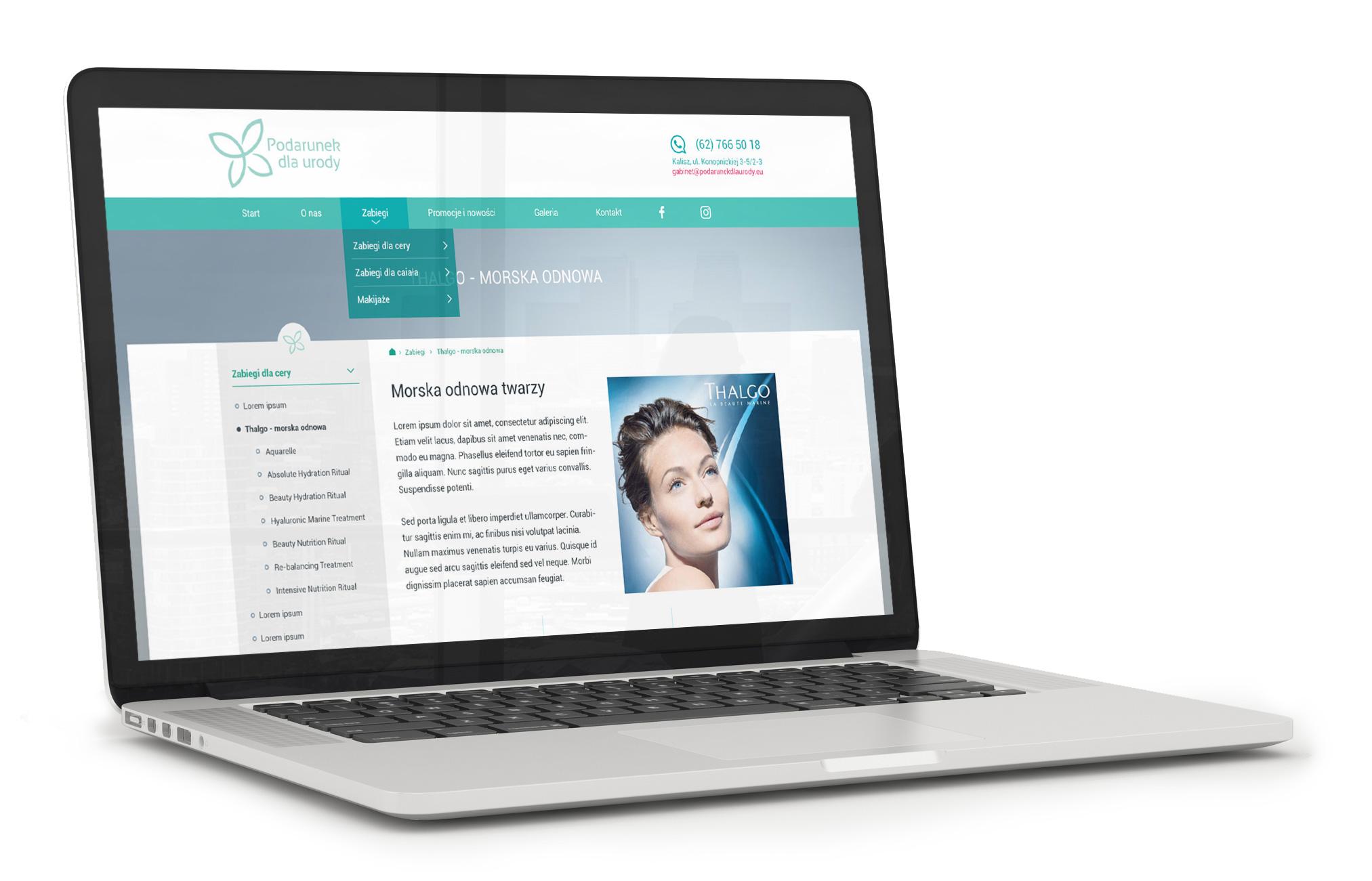 Mockup przedstawiający projekt strony www salonu kosmetycznego