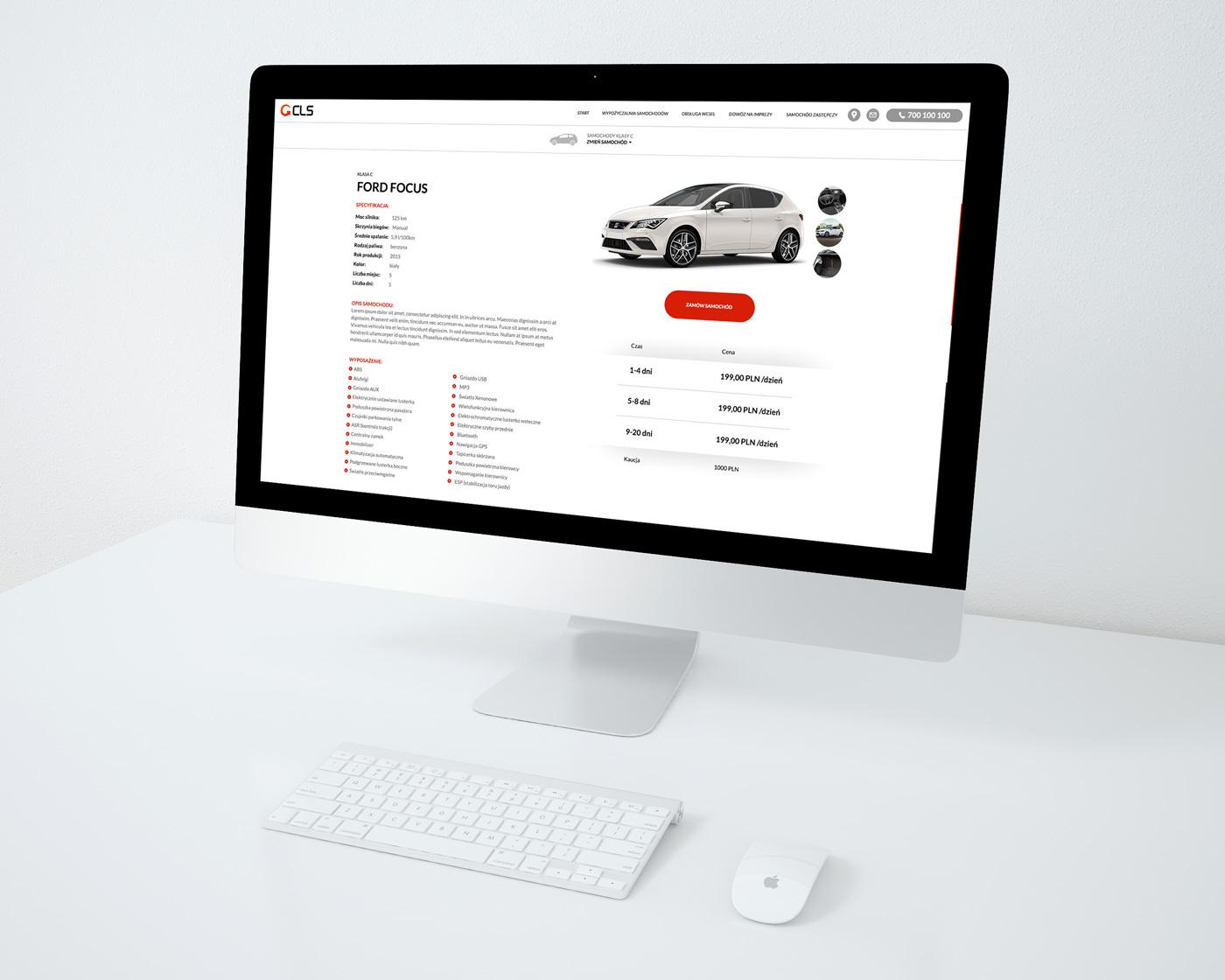 CLS - widok strony wypożyczlani samochodów web design