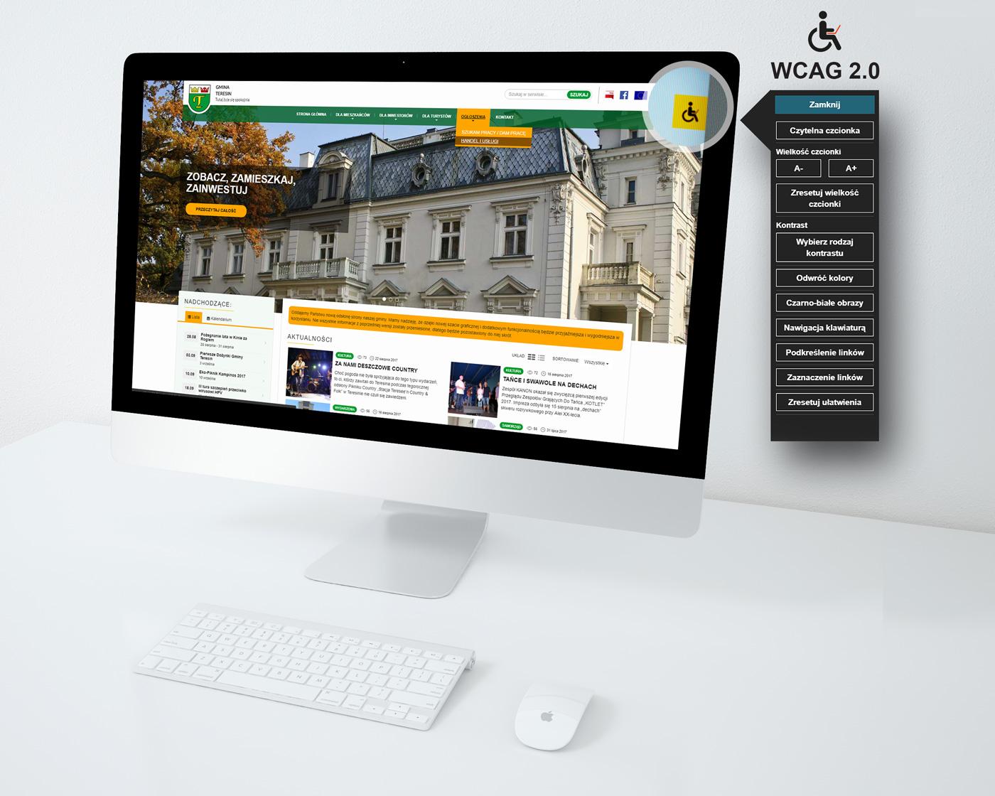 Gmina Teresin - serwis internetowy dla miast i gmin ze wsparciem WCAG 2.0 oraz RWD