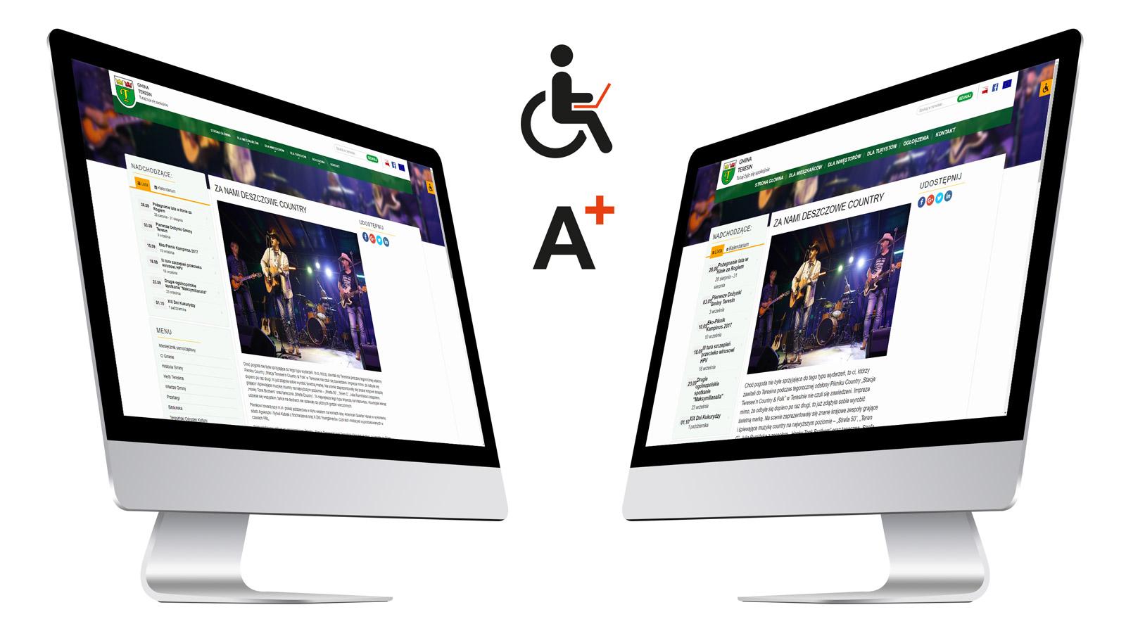 Przykład opcji w ramach WCAG 2.0 - powiększanie czcionki na stronie internetowej Gminy Teresin, woj. Mazowieckie