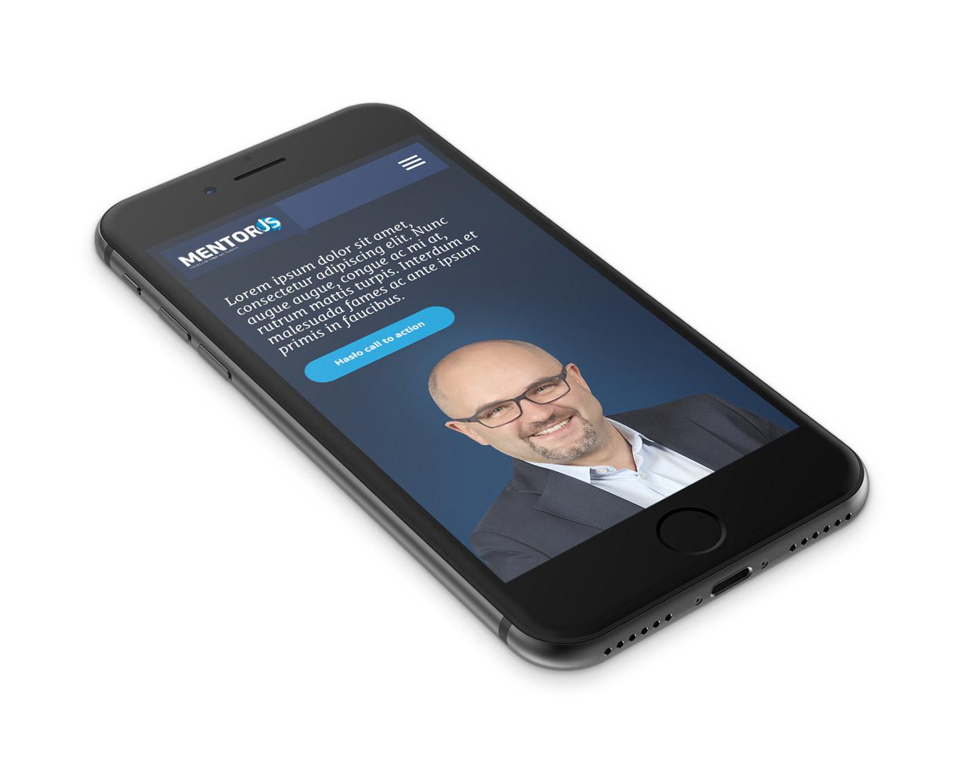 Mentorus - mobilna wersja responsywnej strony internetowej dot. mentoringu i coachingu