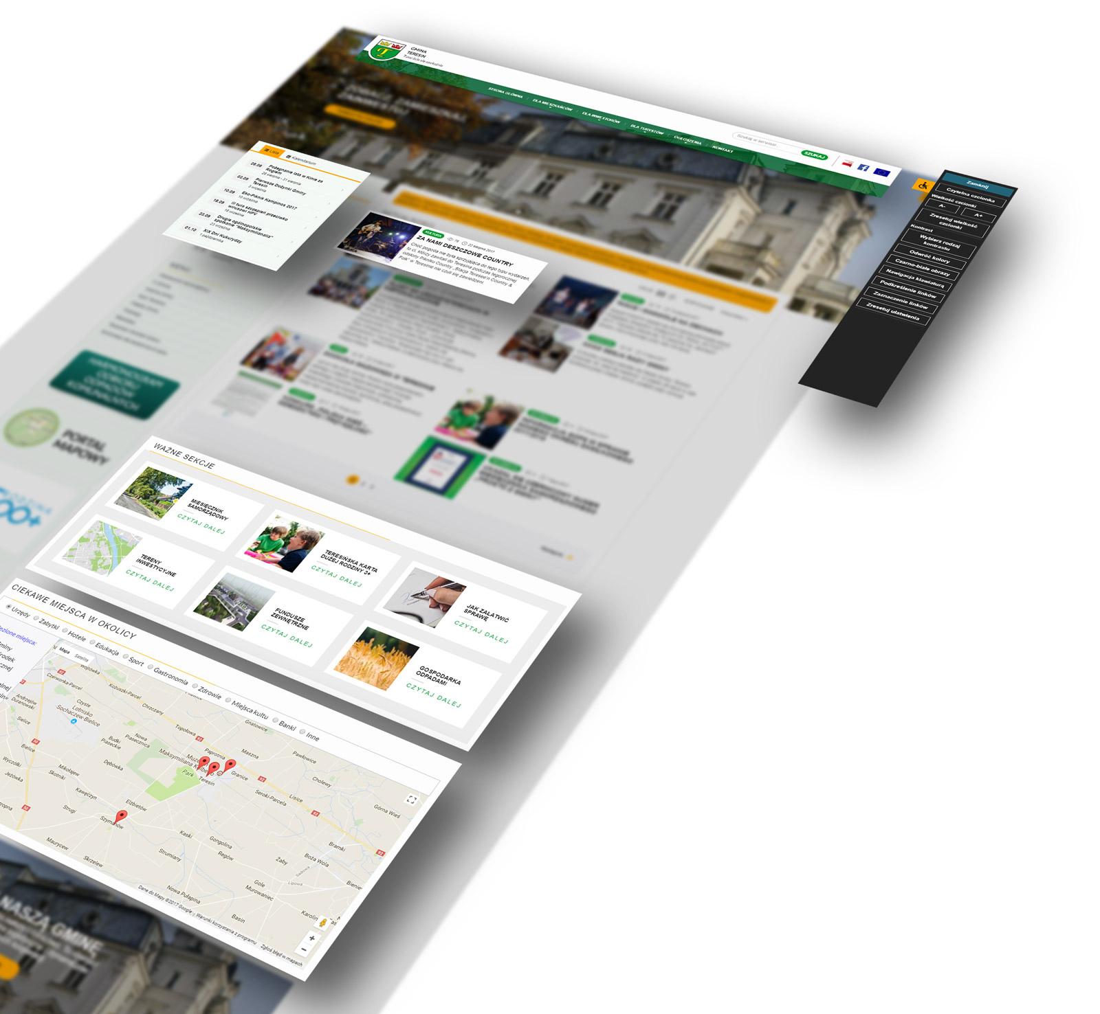 Gmina Teresin woj. Mazowieckie - wizualizacja modułowości budowy strony internetowej serwisu miejskiego