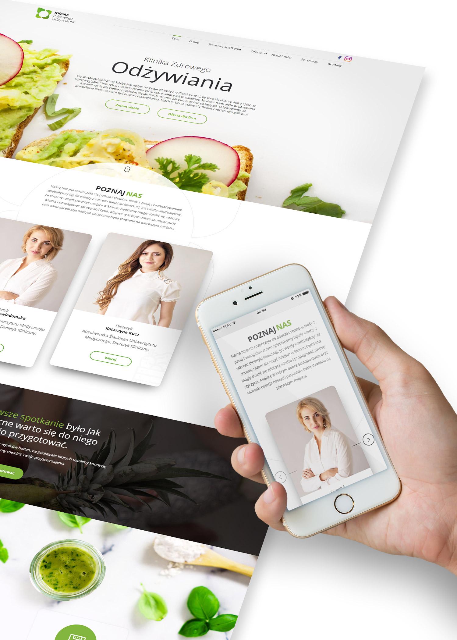 Klinika Zdrowego Odżywiania - projekt strony internetowej z pełną responsywnością RWD