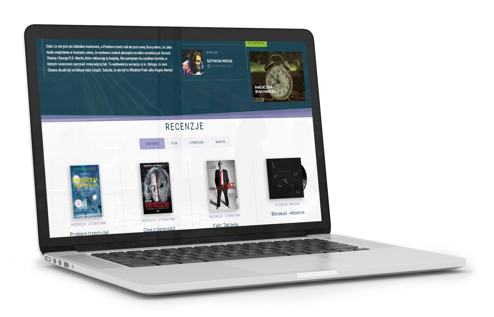 Noktomedia - nowy serwis internetowy - projekt na laptopie