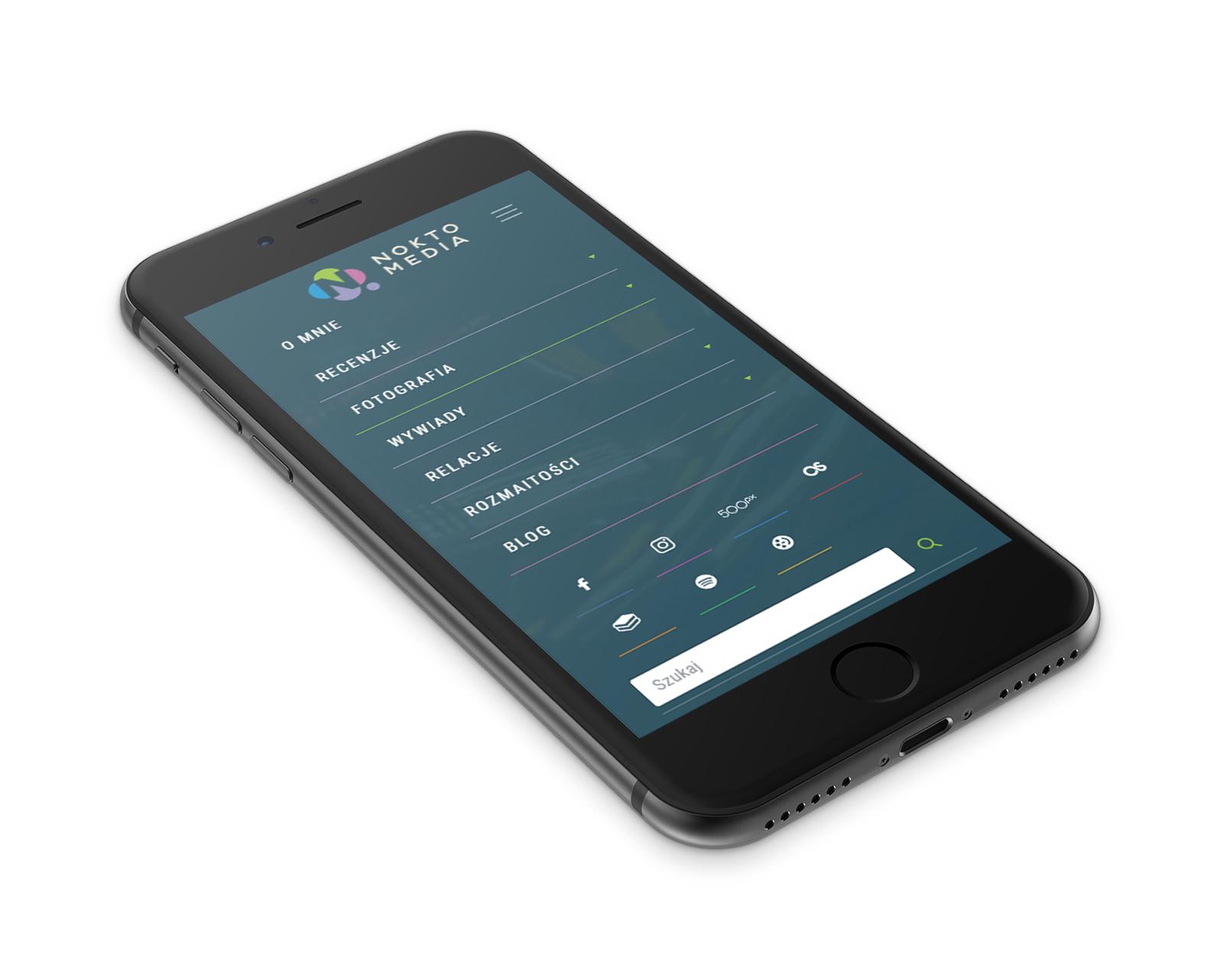 Noktomedia - rozbudowane menu na wersji mobilnej nowej strony internetowej - projekt
