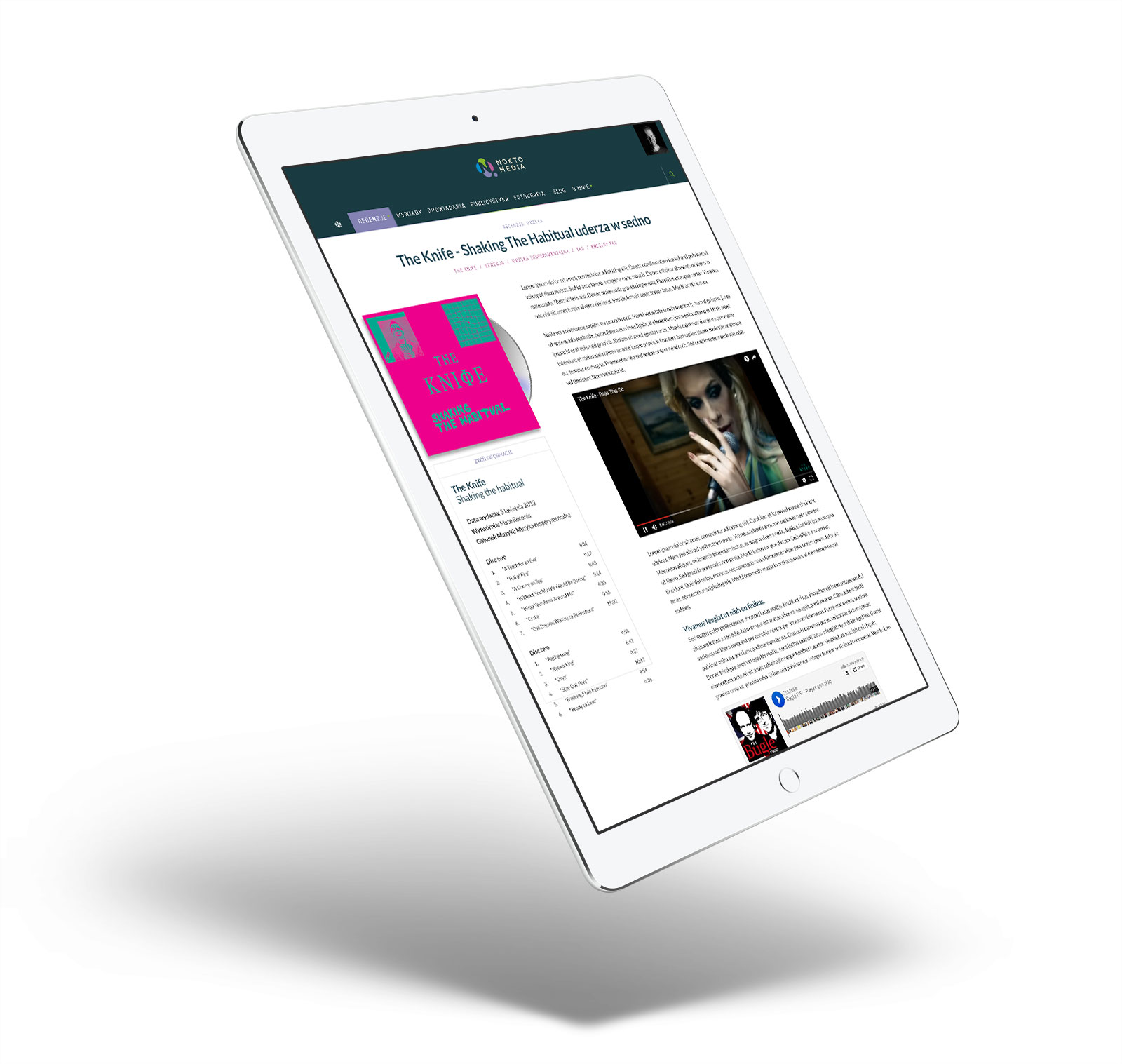 Noktomedia - wizualizacja podstrony na tablecie - RWD
