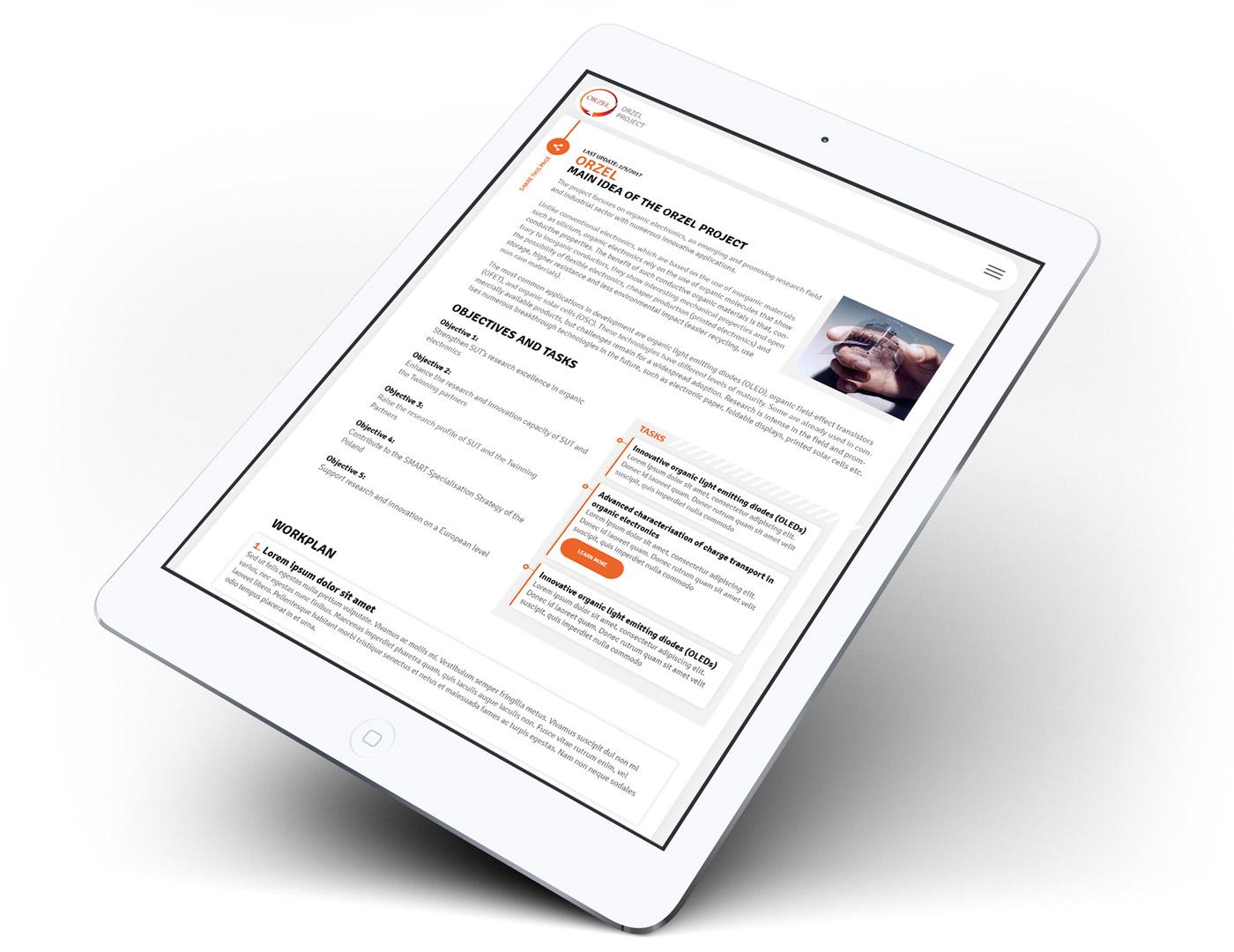ORZEL Project - strona internetowa w wersji responsywnej na tablecie