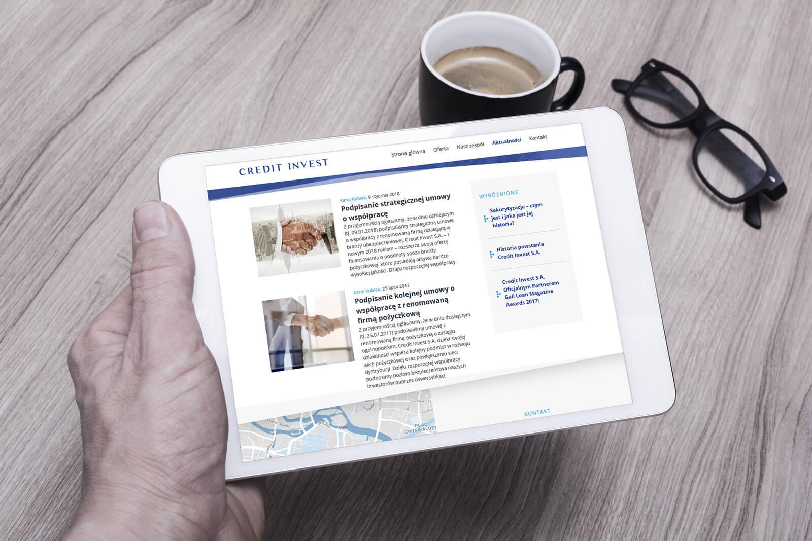 Credit Invest - widok strony internetowej na tablecie - nowy projekt