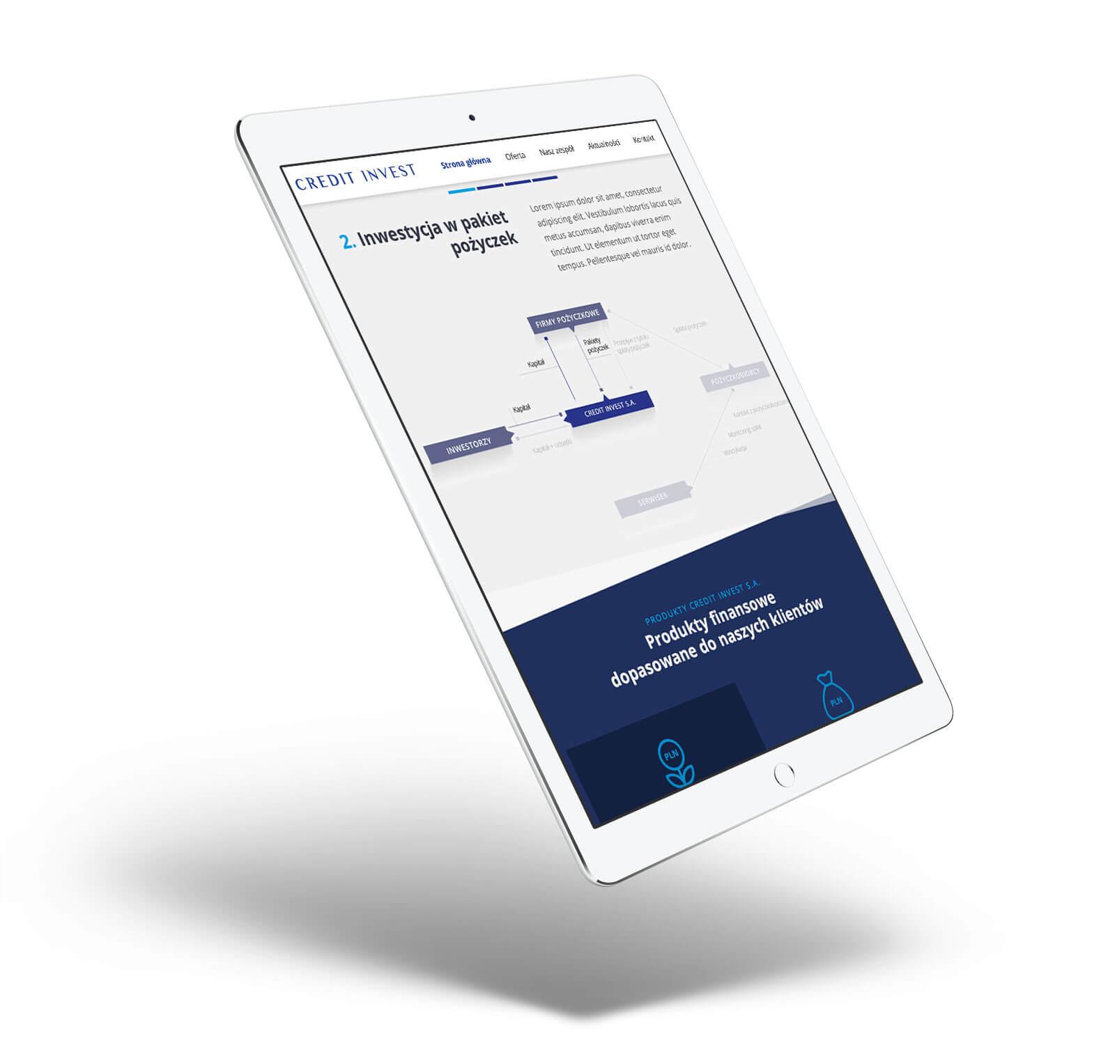 Widok podstrony Credit Invest - projektowanie nowoczesnych stron internetowych