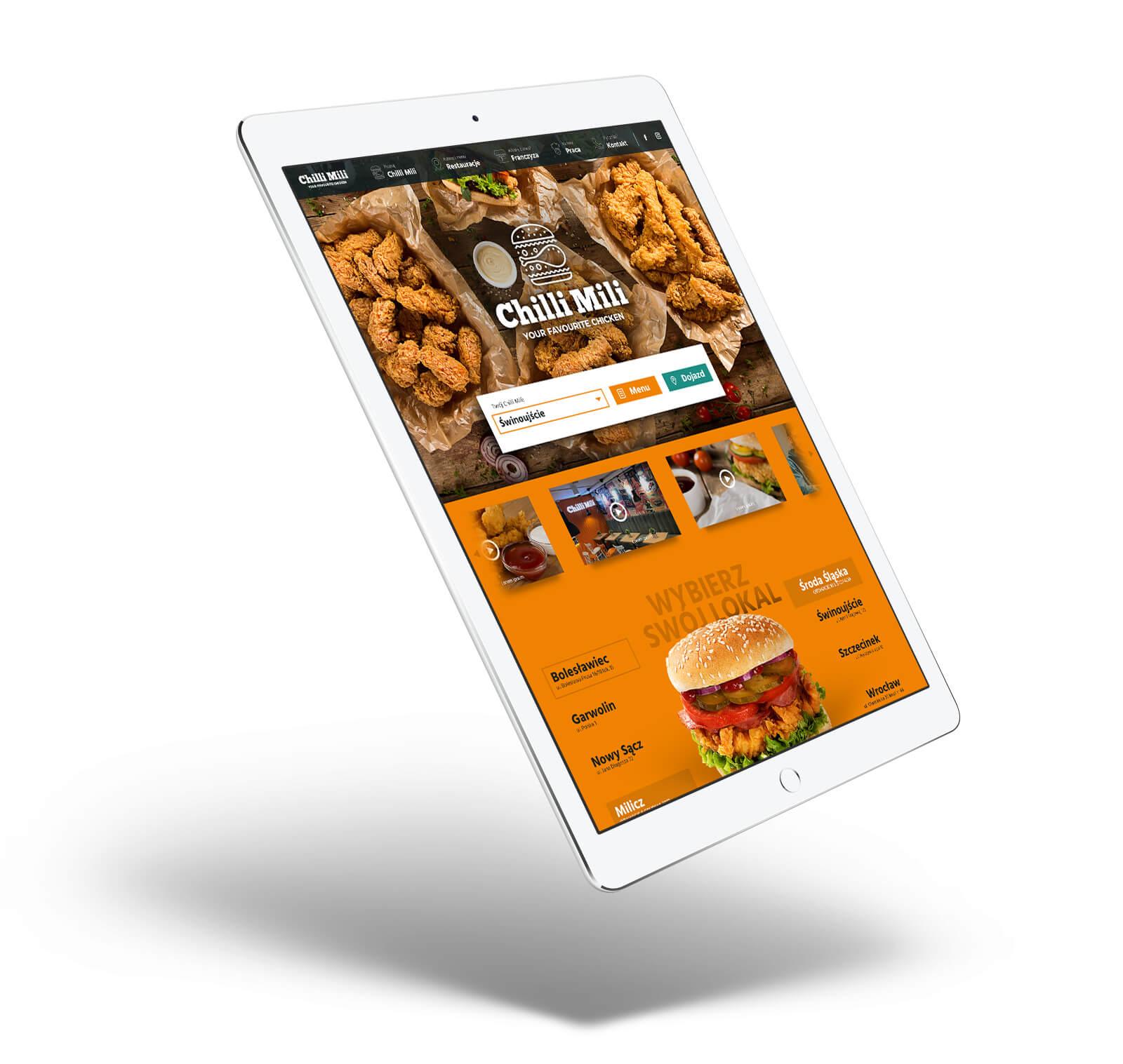 Chilli Mili - projekt strony na tablecie