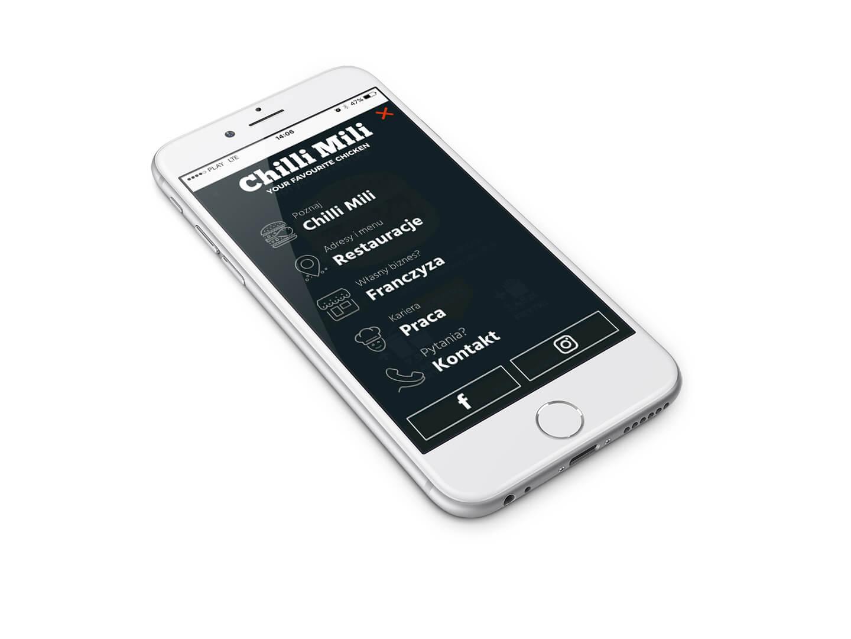 Wizualizacja menu w wersji mobilnej na stronie Chilli Mili