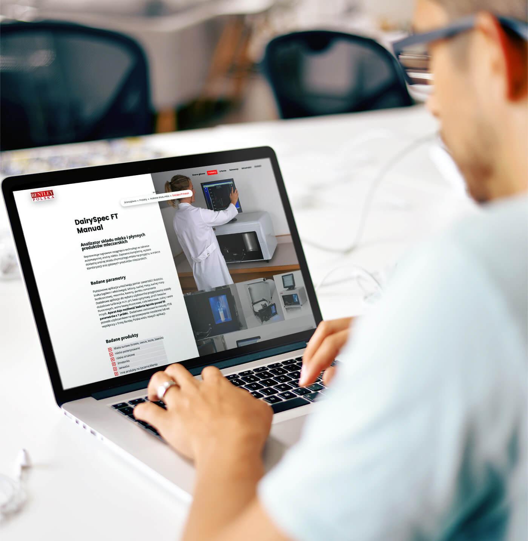Bentley - strona internetowa dla producenta sprzętu laboratoryjnego dla przemysłu mleczarskiego
